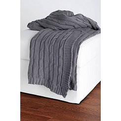 Light Gray Classic Cable Knit Stitch Throw Blanket