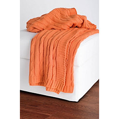 Orange Classic Cable Knit Stitch Throw Blanket