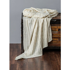 Cream Cable Knit with Silver Foil Throw Blanket