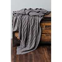 Gray Cable Knit with Silver Foil Throw Blanket