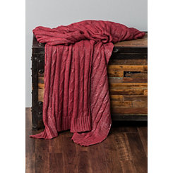 Red Cable Knit with Silver Foil Throw Blanket