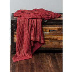 Red Cable Knit with Gold Foil Throw Blanket