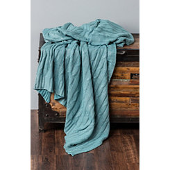 Teal Cable Knit with Silver Foil Throw Blanket