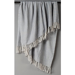 Silver with White Herringbone Woven Throw Blanket