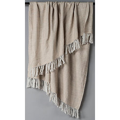 Natural with White Herringbone Woven Throw Blanket