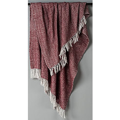 Maroon with White Herringbone Woven Throw Blanket