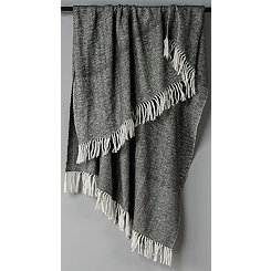 Gray with White Herringbone Woven Throw Blanket
