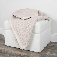 Blush Woven with Fabric Flange Throw Blanket