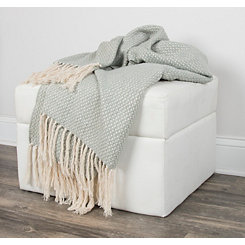 Green Woven Fringe Throw Blanket