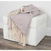Gray Woven Fringe Throw Blanket