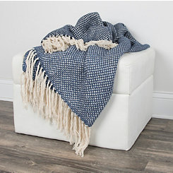 Navy Woven Fringe Throw Blanket