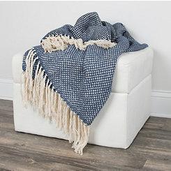 Navy Woven Fringe Throw Blanket