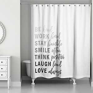 Kind List Gray Shower Curtain