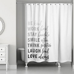 Kind List Gray Shower Curtain