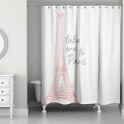 Take Me To Paris Pink Shower Curtain