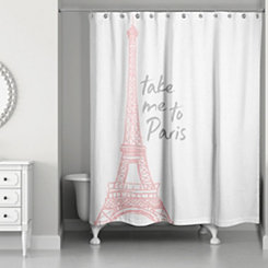 Take Me To Paris Pink Shower Curtain