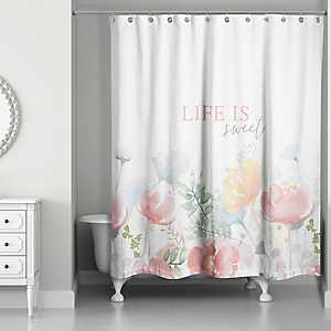 Life is Sweet Floral Shower Curtain