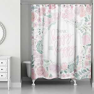 Think Happy Be Happy Floral Wreath Shower Curtain