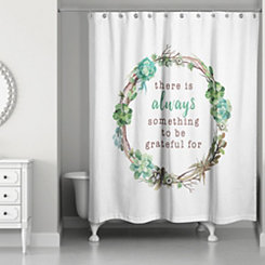 Grateful Succulent Wreath Shower Curtain