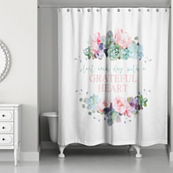 Grateful Heart Floral Shower Curtain
