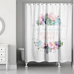 Grateful Heart Floral Shower Curtain