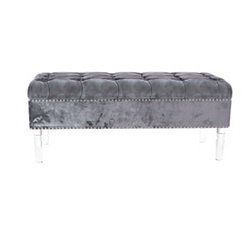 Tufted Gray Acrylic Storage Bench