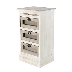White Wooden 3-Drawer Chest with Glass Panels
