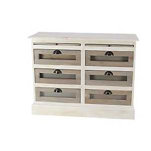 White Wooden 6-Drawer Dresser with Glass Panels