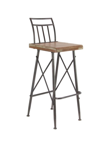 ... Industrial Metal And Wood Bar Stool ...