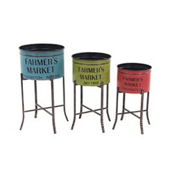 Colorful Metal Farmer's Market Planters, Set of 3