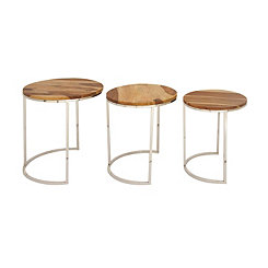 Round Stainless Steel Nesting Tables, Set of 3