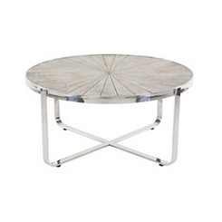 Alexa Stainless Steel and Wood Coffee Table