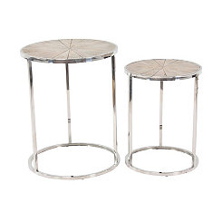 Alexa Stainless Steel Accent Tables, Set of 2