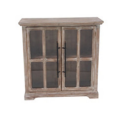 Rustic Wood and Glass 2-Door Cabinet