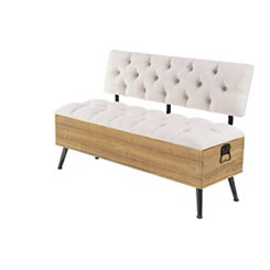 Ivory Plush Seat Storage Bench with Backrest
