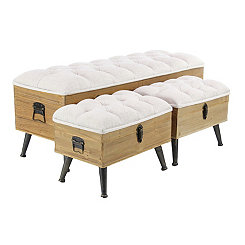 Ivory Plush Seat Storage Benches, Set of 3