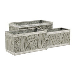 Rustic Palm Leaves Metal Planters, Set of 3
