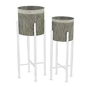 Palm Leaves Standing Metal Planters, Set of 3