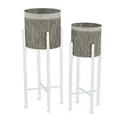 Palm Leaves Standing Metal Planters, Set of 2