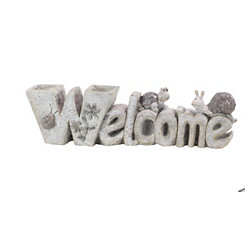 Resin White Welcome Sign with Two Pots