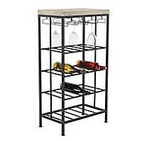 Black Iron and Pine Wood Wine Rack