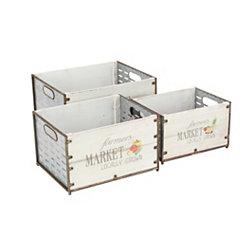 Farmers Market Wood Crates, Set of 3