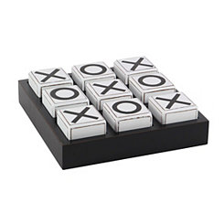 Black and White Wooden Tic Tac Toe Game