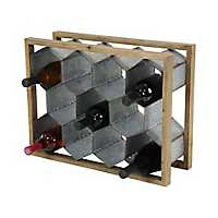 Wood and Metal Honeycomb Wine Holder