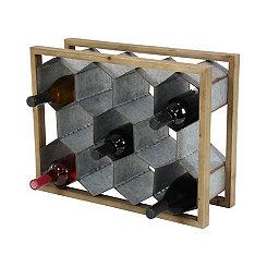 Wood and Metal Honeycomb Wine Holder