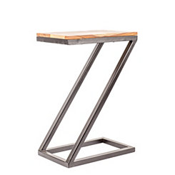 Wood and Metal Z-Stand Accent Table