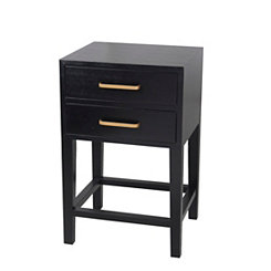 Zoe Black Shagreen 2-Drawer Accent Table