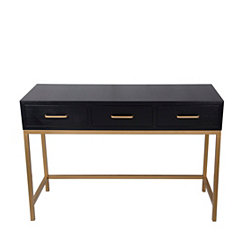 Zoe Black Shagreen 3-Drawer Console Table