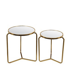 Gold Leaf Mirrored Accent Tables, Set of 2