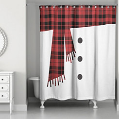 Snowman Scarf and Buttons Shower Curtain